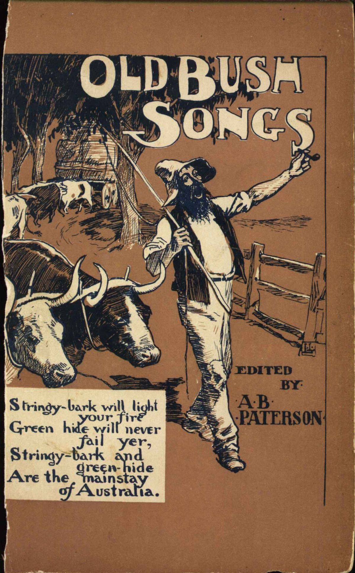 "old pamphlet cover - says ""old bush songs edited by A B Paterson"""