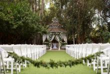 garden setting for a wedding