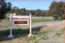 Sutton sign - on outskirts of the village