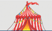 image of red and white stripped tent/pavilion with red streamer in wind